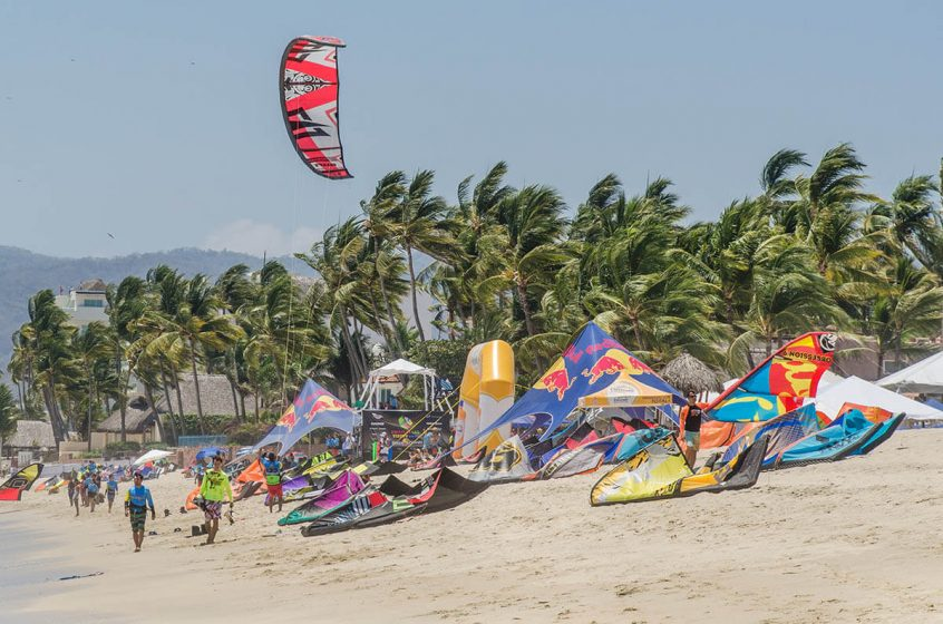 Bucerias Beach during the 2016 annual Kite Surfing Festival