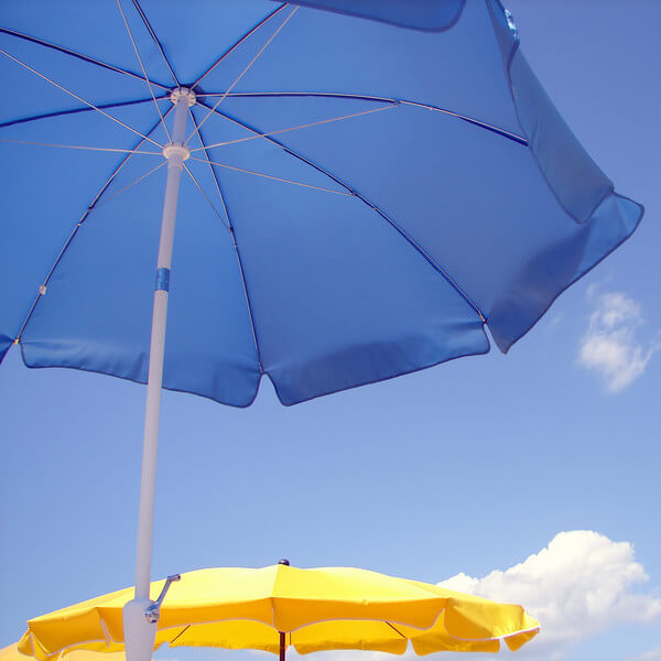 Beach umbrellas available for rent from busyburro.com