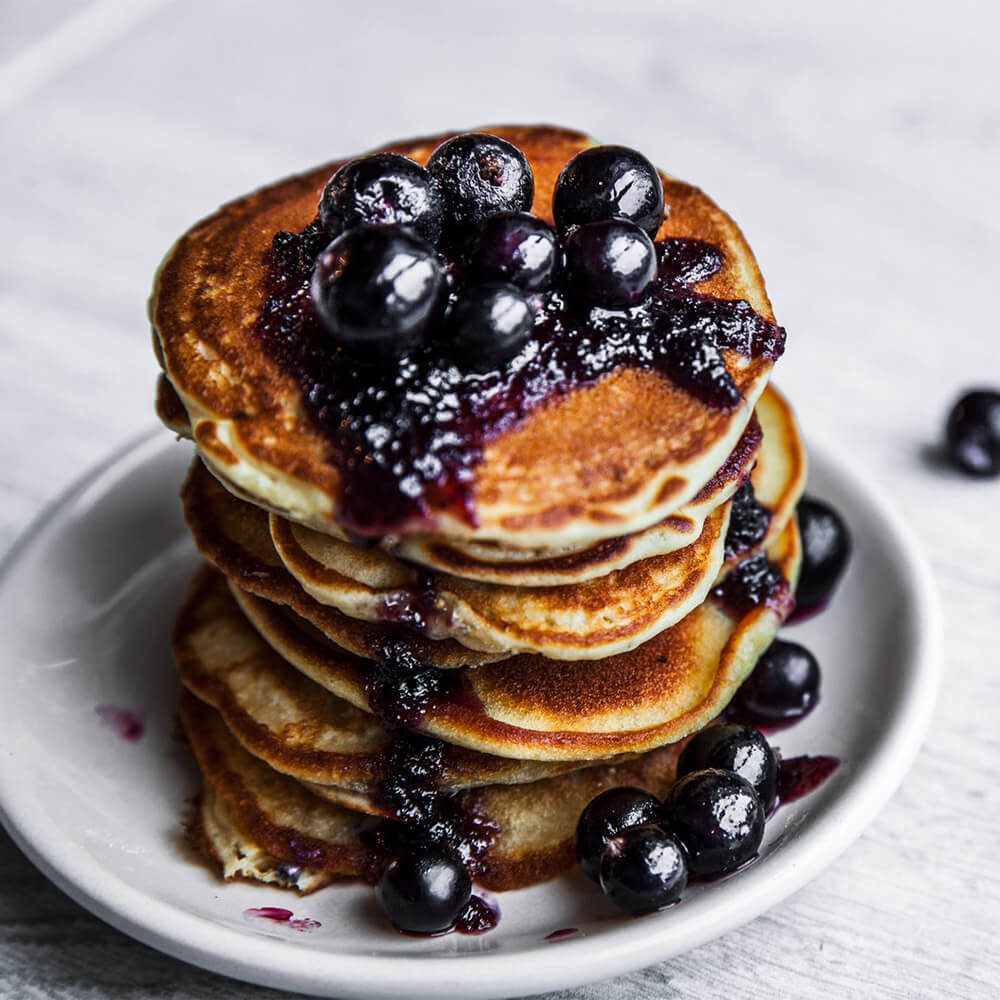 Cottage Cheese Pancakes with Blueberry Compote from busyburro.com