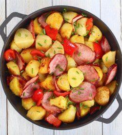 Potato Kielbasa Sausage Scramble from Busy Burro