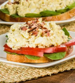 Breakfast Egg Salad and Bacon Sandwich