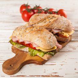 Delicious sandwiches on ciabatta bread included in Busy Burro's Casual Lunch Bundle