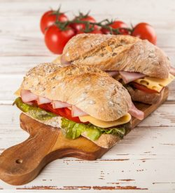 Delicious sandwiches on ciabatta bread included in Busy Burro's Casual Lunch Bundle